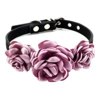 Fashion Flowers Are In Bloom Pet Collar Simple Dog Bow Tie Flowery Leather Necklace Puppy Cat Golden Retriever Labrador Collars & Leashes