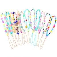 Encantos Venta individual Bohemia Teléfono Cadena Cadena de Cuerda Multi Color Resina Heart Resin Beads Para Mujeres Collar Correa Prevenir Red Mobile