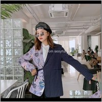 Suits & Blazers Clothing Apparel Drop Delivery 2021 Spring Loose Womens Irregular Stripes Stitching Flowers Printing Chic Lace-Up Blazer Plus
