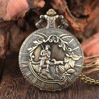 Classic Bronze Shepherd Farmer Cover Flower Quartz Pocket Watch Analog Fob Clock Necklace Chain Best Gift to Men Women