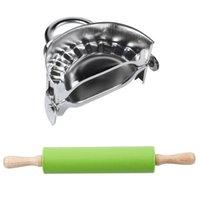 Boîtes à pâtisserie à pâtisserie 2 Set Accessoires de cuisine: 1 PCS NON Stick Silicone Pin en silicone En acier inoxydable Dumplings Maker
