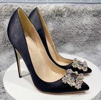 Kadın Ayakkabı Kırmızı Dipleri Yüksek Topuklu 8 cm 10 cm 12 cm Büyük Boy EU34 ila 45 Sivri Toes Pompalar Koyu Mor Saten Kar Tanesi Elmas Kare Toka Gerçek İpek Düğün Gelin Siyah
