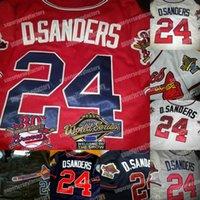24 deion sanders dual patch 1995 wraut serie jersey benutzerdefinierte hochwertige männer frauen jugend baseball jersey schwarz rot weiß grau