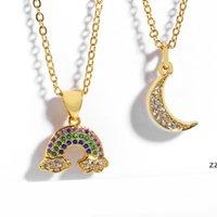 Rainbow Moon Choker Halskette Frauen Kubikzirconia Armbänder 18 Karat vergoldet Verurteilte Schmuck Geschenke Mode Design Anhänger Halsketten HWA6222