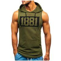 Men's Tank Tops Muscleguys Mens Casual Fitness Summer Sleeveless Hooded Vest Number Print Active Singlet Draw String Sportwear