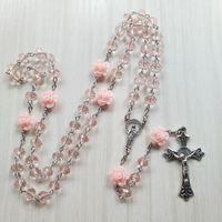 Yutong Qigo Rose Rose Crystal Rosaire Collier Collier Catholique Vintage Croix Pendentif Long Collier Joaillerie religieuse