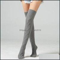 Athletic Outdoor come sport all'aperto Sport Sosks Donne calde a gamba lunga inverno wrinal knit coscia calze ad alta calze scarpetti per N Drop Deliv