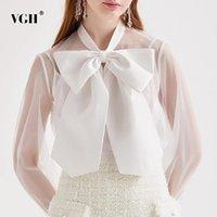 Kadın Bluzlar Gömlek VGH Zarif Dantel Up Ilmek Bluz Kadınlar Için Yay Yaka Uzun Kollu Beyaz Gömlek Through Kadın Moda Giyim