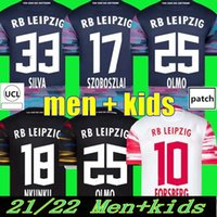 2021 2022 Leipzige S Futebol Jerseys Szoboszlai 21 22 RBL Camisa de Futebol Poulsen Nkunku Silva Haidara Sabitzer Hee Chan Forsberg Laimer Olmo Halstenberg Homens + Kids Kits