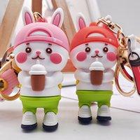 Kreatywne mleczne filiżanki herbaty Królik Key Chain Cartoon PCV Soft Guma Doll Car Wisiorek