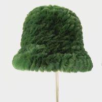 Stingy Brim Hats Green Fur Hat Of Genuine Rex Winter Warm Knitted Women Cap Design H175