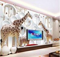 Wallpapers Unique 3D View Giraffe Po Wallpaper Cute Animal Wall Mural Art Decor Paper Children's Room Nursery Living Office Fr