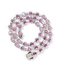 Rock Color Matching Square Zirconium Hip Hop Necklace Zircon collarbone chain men's and women's sweater jewelry
