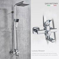 "Bathroom Shower Sets Chrome Black Bath Faucet Rotate Tub Spout Wall Mount 8"" Rainfall Head Tap Bathtub Set"