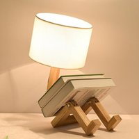 Lampes de table Forme de robot en bois pliante créative européenne mode étude chambre de chevet lampe de lit lampe de lit d'ombre lumière WJB41611