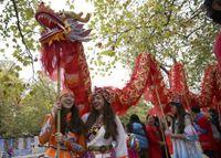Dragon Dance Costume Set Set Seta Adulto 14m lunghezza 8 Giocatore Parata Tradizionale Parade Performance Cina Teamwork Sport gioco Mascot Natale Giorno di Natale Cultura festa festa