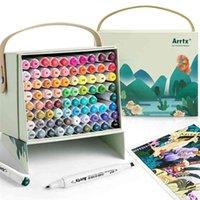 Arrtx 80 colores puntas duales marcadores de alcohol marcador permanente pluma con caja de regalo para artistas para niños para niños colorear ilustración anime 210902