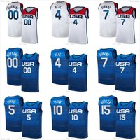 Devin 15 Booker Kevin 7 Durant Basketball Jersey 6 Damian Lillard 10 Jayson Tatum Zach 5 Lavine Jrue 12 Vacances 2020 2021 Équipe nationale USA Olympiques d'été