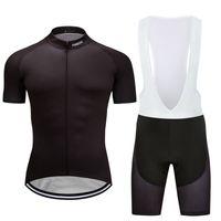 2021 남자의 검은 도로 사이클링 키트 저지 턱받이 반바지 셔츠 스타킹 세트 패드 짧은 바지