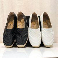 19SS Lüks Tasarımcı Espadrilles Rahat Saman Ayakkabı Kadınlar Yaz Bahar Platformu Donanım Loafer Kızlar Hakiki Deri Hasta Tek EUR35-41