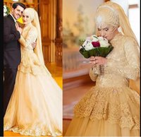 Gold Muslim Wedding Dresses Bridal Gown Long Sleeves Tiered Lace Applique High Neck Tulle Beaded Sweep Train vestido de novia Formal Dress