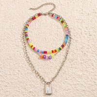 farmhouse style Beaded Necklaces acrylic square letter necklace colorful Flower smiley heart letters pearl clavicle chain multi-element bohemian neck jewelry