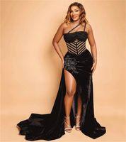 Plus Size Black Evening Dresses Sexy Velvet Lace Beaded High Split Prom Dress Formal Party Second Reception Gowns Robe de mariée