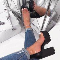 Siddons PVC прозрачные женские летние платформы сандалии открытые пальцы на молнии сексуальные коренастые высокие каблуки женские вечеринки обувь Womans сандалии J2023