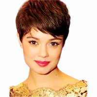 Short Bob Pixie Cut Full Machine Made None Lace Human Hair Wigs With Bangs For Black Women Remy Brazilian straight Wig