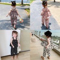 Clothing Sets Girls Outfits Baby Clothes Children Kids Dress Summer Flower Tank Tops Trousers Pants Beach Suits 2-6Y B5028