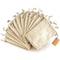 جوت حقيبة القطن الكتان الرباط هدية حقيبة الخيش التعبئة الحقائب أكياس تخزين لحضور حفل زفاف مجوهرات التعبئة والتغليف
