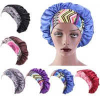 Women Imitation Silk Sleep Bonnet Hat Elastic Wide Band Ethnic Paisey Floral Print Hair Loss Chemo Cap Night Head Cover Accessories1