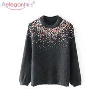 AELEGANTMIS Мода Rainbow Checifed вязаные свитера женские шикарные кашемировые свитер пуловеры женские осени зима повседневные перемычки