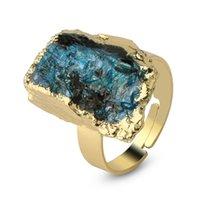 CSJA Naturstein Gold-Farbe Verstellbare Ring Unregelmäßigen Schwarz Turmalin Blau Kristall Fingerringe Für Frauen Trendy Schmuck 1660 V2