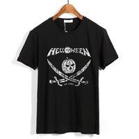 9 تصاميم خمر هيلاين الرجال تي شيرت روك ماركة قمصان اليقطين اللياقة المتشددين الثقيلة المعادن 100٪ القطن سكيت camiseta تيز