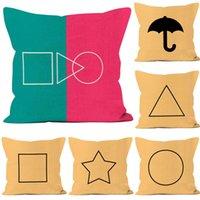 45 x 45CM squid game pillow case peach skin velvet throw cushion cover cartoon pillowcases Ponkan sugar cake star square circle triangle double sides print GO4AJIP