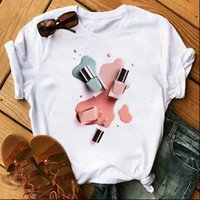 Vogue Rainbow Nagellack Print Womens T-Shirt Vintage Femme Kleidung Sommer Harajuku Ästhetisches T-Stück