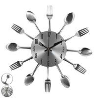Wall Clocks Clock Watch 3D Removable Modern Creative Cutlery Kitchen Spoon Fork Mute Timing Drop