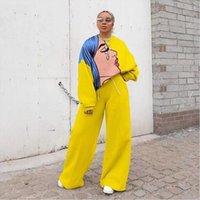 Дасики Африканская толстовка брюки костюм Женские трексуиты 2 шт. Набор Осень Топы Сплошные цвета Случайные девушки S 2XL