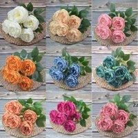 الحرير الاصطناعي الفاوانيا الزهور باقات 7 رؤساء الأساسية نسج الفاينز الزفاف المنزل الديكور الأبيض الشمبانيا الأزرق الوردي HWD8230