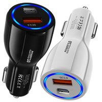 Fast Quick Charge 18W PD USB-C 2Ports Type C QC3.0 Car Charger Power Adapters For IPhone 7 8 11 12 13 Samsung Android Phone PC GPS With Box