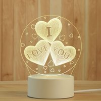 Creative 3D Night Lights Acrylic Desktop Nightlight Boys and Girls Holiday Gift Decorative Lamps Bedroom Bedside Table Lamp I love you