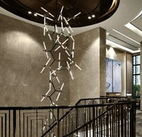 Stair chandelier Pendant Lamps modern simple art living room creative personality villa duplex rotary lamp long