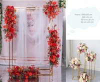 Party Decoration 4pcs Wedding Flower Balloons Curtain Crafts Display Stand Iron Arch Metal Shelf Backdrops Pergola Bouquet Plinths Road Lead
