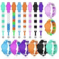 Push Poppers Children's Rainbow Squid Game Bracelet Bubbles Fidget Puzzle Decompression Toys Tir Dye Silicone Board Toys Wristband Gifts H102B9Y3
