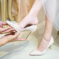 Klänning Skor Party Pumpar Bröllop Kvinnor Bride Lace Bridesmaids 6cm High Heels Grunt mun Prinsessan Champagne Mesh Kvaliterad