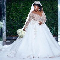 Plus Size A Line 2021 Wedding Dresses Bridal Gowns Jewel Neck Long Sleeve Beaded Sequined Pearls Church Bride Dress