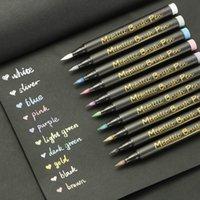 أقلام ميتاليك ماركر أقلام مجموعة 10 ألوان متنوعة قسط الطلاء القلم الكتابة للورق الأسود زفاف الزوار كتاب الحرفية لوازم الزجاج