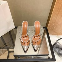Casual Designer Sexy Lady Fashion Women Shoes Pvc Clear Transparent Spikes Pointy Toe Stiletto High Heels Sandals sandalias