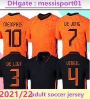 2021/22 HOLLAND MEMPHIS DE JONG JERSEY JERSEY LIGT HOLANDES STOOTMAN VAN DIJK 2022 Adulto Men Fotebol Shirt